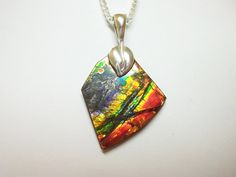 Canadian Ammolite Sterling Silver Pendant with by FireAgates