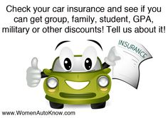 Check your car insurance and see if you can get group, family, student, GPA, military or other discounts! Tell us about it!