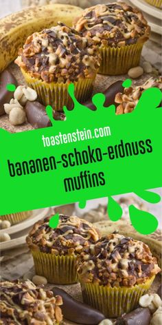 – Bananen-Schoko-Erdnuss-Muffins & Toastenstein The post Bananut! – Bananen-Schoko-Erdnuss-Muffins appeared first on Guadalupe Pratt. Chocolate Cookie Recipes, Easy Cookie Recipes, Muffin Recipes, Chocolate Chip Cookies, Cake Recipes, Dessert Recipes, Chocolate Muffins, Frosting Recipes, Chocolate Cupcakes