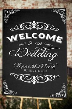 Wedding Welcome Sign Poster Chalkboard Shabby by WildHeartPaper