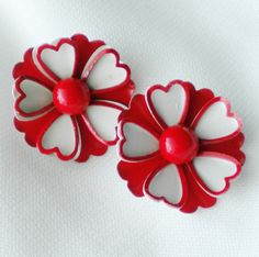 #Vintage #Red & White 70s Enamel #Flower Earrings by normajeanscloset on Etsy, $9.99