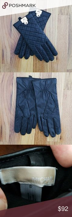 Michael kors quilted leather gloves Brand new never used!!! Great condition! Softest quality quilted leather! Beautiful black gloves with gold medallion hardware. Can be worn edgy or classy depending on the rest of your outfit. Size Medium Michael Kors Accessories Gloves & Mittens