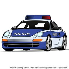Police car coloring page & online coloring game for kids