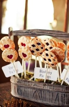 Vintage style | Pie Pops  or serve a few homemade pies instead of wedding cake!?
