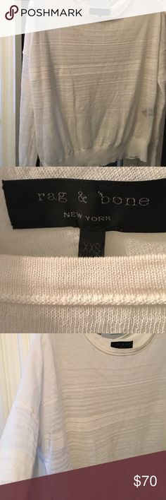 A rag and bone white sheer crewneck sweater A rag and bone lightweight sheer white rib stripe sweater.   Excellent condition. Like new rag & bone Sweaters Crew & Scoop Necks