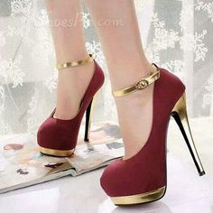 Classic Red Suede Round Closed Toe Stiletto Super High Fashion Ankle Strap Pumps Classic Red Suede R Ankle Strap High Heels, Sexy High Heels, High Heel Boots, High Heel Pumps, Womens High Heels, Ankle Straps, Platform Pumps, Pretty Shoes, Beautiful Shoes