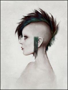Ilustración de una chica punk