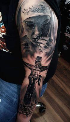 Tatuaje Heaven Tattoos, God Tattoos, Forarm Tattoos, Jesus Tattoo, Badass Tattoos, Body Art Tattoos, Tattoos For Guys, Half Sleeve Tattoos Designs, Cross Tattoo Designs