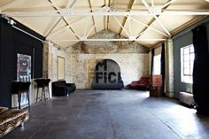 Timber -Brick -Warehouse -with -roof -beams Space Group, Roof Beam, Uk Location, Red Walls, Amazing Spaces, Ground Floor, Brick, Commercial, Industrial