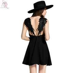 16.99e Musta, L-koko.  2 Colors Feather Spaghetti Strap Backless Mini Skater Dress Sleeveless Casual Sexy Clubwear Party Dresses 2016 Summer Women-in Dresses from Women's Clothing & Accessories on Aliexpress.com | Alibaba Group