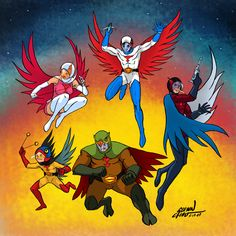 """Here's """"Kagaku ninja tai Gatchaman"""" from 1972-1974. Though I knew it first as """"Battle of the Planets"""" from 1978 on... Jog your memory here --> Really loved this as a little kid. I even had two p..."""