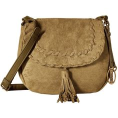 CARLOS by Carlos Santana Frances Suede Saddle Bag (Olive) Cross Body... ($30) ❤ liked on Polyvore featuring bags, handbags, shoulder bags, olive, purse shoulder bag, hand bags, shoulder strap bag, saddle bags and man bag