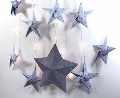 Guirlande lumineuse d'étoiles origami sur bois de cerf : Accessoires de maison par origamis-toutenpapier