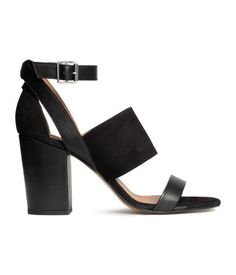 PREMIUM QUALITY. Sandals in suede and leather with covered block heels and an adjustable ankle strap with metal buckle. Leather lining, leather insoles, and rubber soles. Heel height 3 1/2 in.