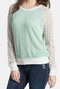 Love this!!  Mint sweatshirt with sheer polka dot sleeves http://rstyle.me/n/fzzugnyg6