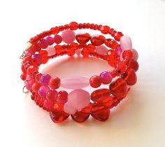 Red Wrap Bracelet, Heart Bracelet, Cherry Red Bracelet, Cute Bracelet, Memory Wire Coil, Gift Idea https://www.etsy.com/listing/271018477/red-wrap-bracelet-heart-bracelet-cherry?utm_campaign=crowdfire&utm_content=crowdfire&utm_medium=social&utm_source=pinterest