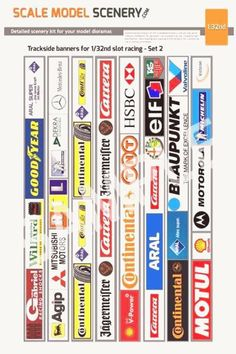 Slotcar Scalextric trackside decals 7x Decals Mixed F1 Le Mans 1:32 scale