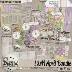 "It's been a very long winter and spring is just around the corner. ""Everyday Moments April"" is the perfect kit for getting your spring scrapping mojo going! Pick it up here: http://scraptakeout.com/shoppe/Everyday-Moments-April-Bundle.html"