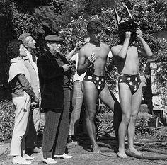 Pablo Picasso, Jean Cocteau, Catherine Hutin-Blois, and the dog-men on the set of Testament of Orpheus, Les Baux de Provence, 1959,
