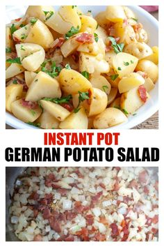Instant Pot German Potato Salad - Made with bacon, onions and sweet and tangy sauce. Instant Pot German Potato Salad - Made with bacon, onions and sweet and tangy sauce. Easy Salad Recipes, Side Dish Recipes, Pasta Recipes, Soup Recipes, Dinner Recipes, Cooking Recipes, Family Recipes, Potato Recipes, Casserole Recipes