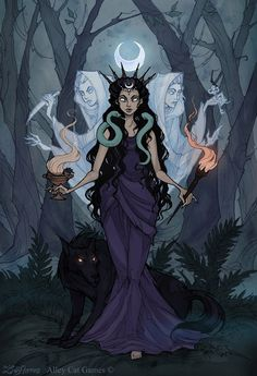 Hecate - three headed Hound in the moon