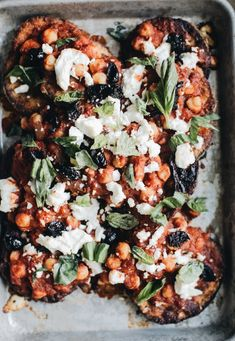 Crusted eggplant with spicy tomato, chickpeas and goats cheese