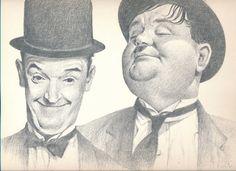 Bill Bates Print | Laurel and Hardy | Comedy Legends | Unframed Print | Pencil Drawing | Funny Men