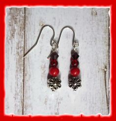 Red Bamboo Coral Beads Earrings w/ Flowers for Neo by MimiandBoots