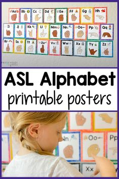 Colorful sign language alphabet printable cards! Also, ASL alphabet posters for preschool or kindergarten. These are perfect in the classroom or for homeschool! Grab your FREE printable poster and don't miss the tips on how to use!