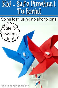 Without Pins That REALLY Spin! Toddler Safe Pinwheel Tutorial no pins or other pokey thingies!Toddler Safe Pinwheel Tutorial no pins or other pokey thingies! Toddler Crafts, Preschool Crafts, Diy Crafts For Kids, Projects For Kids, Fun Crafts, Craft Ideas, Art Projects, Craft Activities, Craft Tutorials