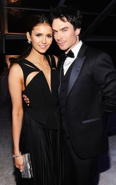 "OSCARS AFTER PARTY 2012: Nina Dobrev (in J. Mendel) and her ""Vampire Diaries"" co-star/boyfriend Ian Somerhalder (in Armani)"