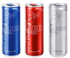 Red Bull Energy Drink - Blue, Red and Silver Editions i LOVE THE BLUE ONES!