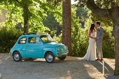 Wedding car, vintage Fiat 500. Tuscany. Lace dress, Italy