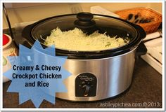 Creamy & Cheesy Crockpot Chicken and Rice. ◾16oz tub of sour cream ◾8oz bag of shredded cheddar cheese ◾8oz bag of shredded mozzarella cheese ◾5-6 boneless, skinless chicken tenderloins (or use 2-3 breasts if that's what you have one hand) ◾2 cups of uncooked rice ◾3 cups of water ◾12oz bag of frozen broccoli