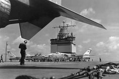 """Iconic """"Peacemakers of the Fleet"""" Vigilante being readied for launch aboard the """"Big E"""", Old Brown Shoe, Uss Enterprise Cvn 65, The Big E, Naval Aviator, Vigilante, Us Navy Aircraft, Aircraft Carrier, Statue Of Liberty, Aviation"""