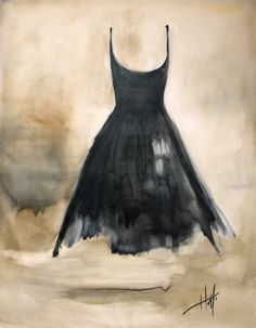 Abitina Nero  Little Black Dress  Giclee print by hollimoonart, $520.00