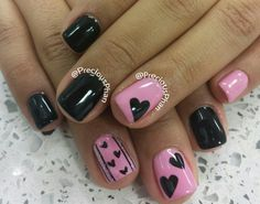 Hearts, valentine's day nails