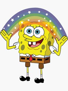 'Spongebob Imagination' Sticker by kirkdstevens - The Effective Pictures We Offer You About diy home decor A quality picture can tell you many thing - Spongebob Painting, Spongebob Drawings, Meme Stickers, Tumblr Stickers, Laptop Stickers, Imagination Spongebob, Spongebob Birthday Party, Cute Disney Wallpaper, Chalk Drawings