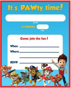 Make your preschool birthday party a blast with these PAW Patrol birthday invites!