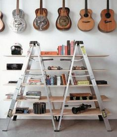 101 Thing to do with old ladders and step ladders   Because then you can buy a new one from us!  http://www.ladders-online.com  // Number: 12 \\ Idea Type: Display Shelf  Ladder Used: X2 6 tread aluminium step ladders Idea Difficulty: Easy Location: Garage, Storage Room #shelf   #upcycle #recycling