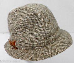 Hats of Ireland Castlebar Brown Wool Donegal Tweed Fedora Hat L Made in Ireland