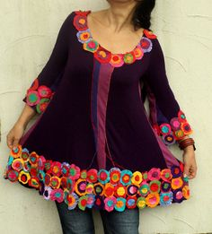 Appliqued colorful recycled dress tunic hippie boho by jamfashion