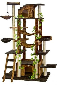 Go Pet Club Cat Tree in Brown/Black - Premium Cat Tree for Large Cats and Kittens, Cat Furniture Bundles with Scratching Post, Cat Condo, Cat Tree Hammock and Cat Toys, Cat Trees and Condos Cat Tree House, Cat Tree Condo, Cat Condo, Tree Furniture, Condo Furniture, Bb Chat, Cat Gym, Cat Jungle Gym, Huge Cat
