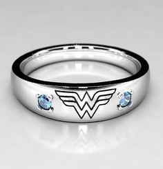 Wonder Woman Wedding band in Silver or White Gold with Blue