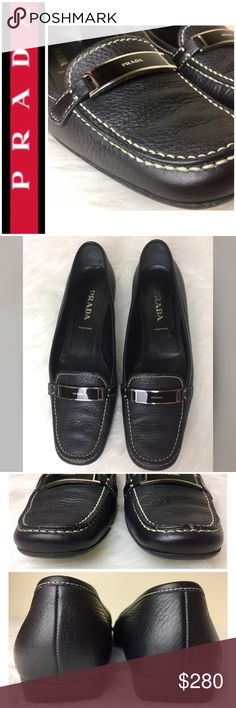 Prada Signature Daino Nero Leather Loafers Prada Signature Daino Nero Leather Loafers in Elegant Black Pebble Grain Leather with White Stitching, Silver Tone and Black Hardware, Made in Italy 🇮🇹, Size 7 Tag, Used in Excellent Mint Condition Prada Shoes Flats & Loafers