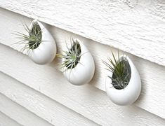 Set of 3 Mini Matte White Ceramic Hanging Planters by BLIndustries