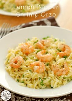Lemon Pepper Shrimp Orzo Recipe :: cooked the orzo in chicken broth for a little more flavor: orzo, 4 cups chicken broth. Boil broth, add orzo and reduce heat to simmer. Simmer min (or until orzo is tender) then remove from heat and let rest min. Fish Recipes, Seafood Recipes, Dinner Recipes, Cooking Recipes, Healthy Recipes, Dairy Free Orzo Recipes, Recipies, Cooking Tips, Shrimp Dishes