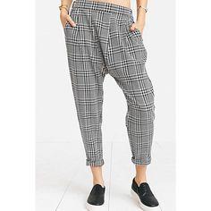 Black White Plaid Print Harem Pants ($27) ❤ liked on Polyvore featuring pants, loose fit pants, drapey pants, draped harem pants, tartan trousers and white and black pants