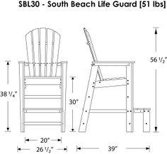 Polywood South Beach Outdoor Adirondack Lifeguard Chair