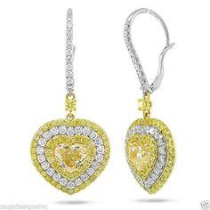 Natural 5.32CT 18K Two Tone Gold Fancy Yellow Heart Cut Diamond Dangling Earring #SageDesigns #DropDangle
